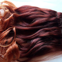 20 inch Ombre Red Auburn to Gold Blonde Clip Fade Clip in 100% Remy Human Hair Extensions Full Set Double Wefted Dip Dye Fade