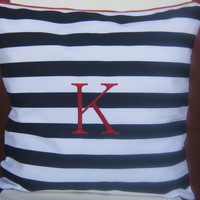 STRIPE PILLOW Monogram Initial Pillow Cover- , dark blue or red Personalized 18 x 18 Decorative Pillow- Typography Letter-