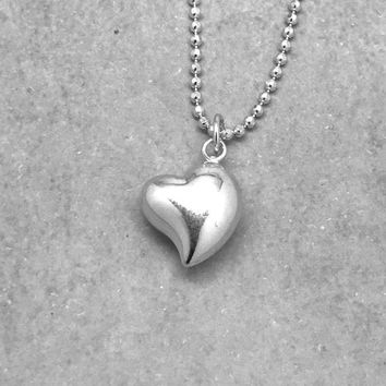 Sterling Silver Heart Necklace, Large Heart, Puffed Heart, Gifts for Her, Handmade Jewelry, Everyday Necklace, Heart Jewelry