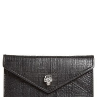 Alexander McQueen Embossed Leather Envelope Card Case | Nordstrom