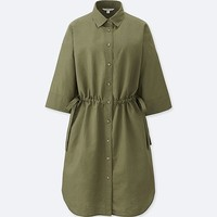 WOMEN LINEN BLEND 3/4 SLEEVE SHIRT DRESS