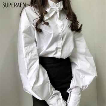 SuperAen Bow Puffs Sleeves Temperament White Shirt Women Cotton Wild Casual Fashion Girls Blouse New Spring 2018 for Women Tops