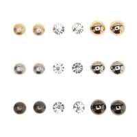 Multi Ball & Rhinestone Stud Earrings - 9 Pack by Charlotte Russe