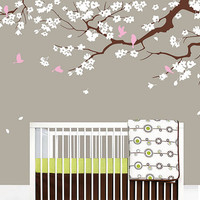 Cherry blossom tree decal with flying birds wall decals Baby nursery tree wall decal pink baby girl flowers branch tree wall sticker vinyl