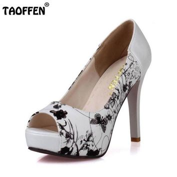 Print Peep Toe Platform Thin Heels Pumps