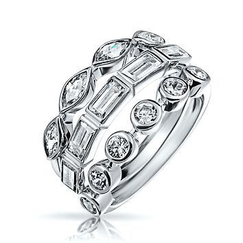 3 Set Baguette Marquise CZ Wedding Band Ring Set 925 Sterling Silver