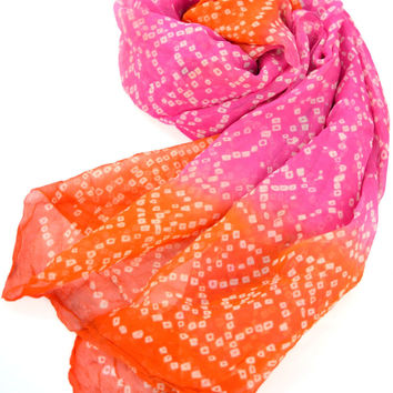 Pink and Orange Silk Hippie Scarf