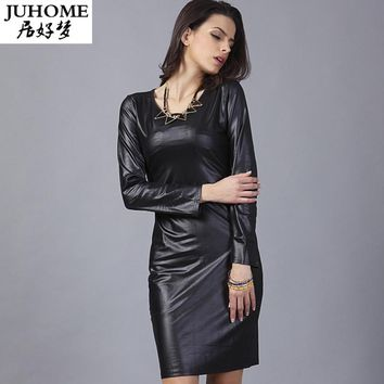 long Sleeve women clothing bodycon PU Leather Tunic Dress Elegant Club casual runway black fashion Office Pencil Dress robe sexy