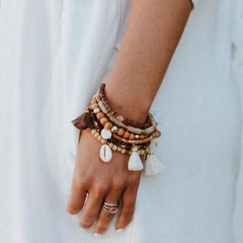 Coco Charm Boho Stack Bracelet Set - Brown
