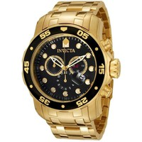 Invicta 0072 Men's Pro Diver Chronograph 18k Yellow Gold Plated Watch