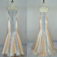 Cheap New Style 2013 Mermaid Strapless Sweetheart Sequined Champagne Prom Dresses Evening Dresses Evening Gown from 2013 New Dresses