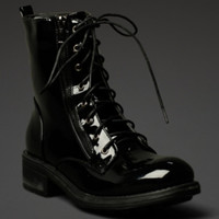 Patent Lace-Up Worker Boot