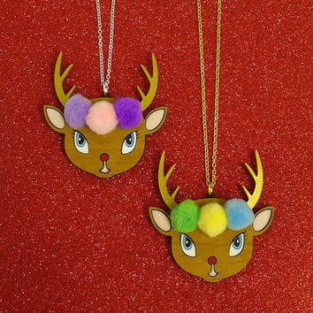 SALE Kitsch Christmas Reindeer Necklace with Pompoms - Laser Cut Cherry Wood Deer Necklace Vintage Style