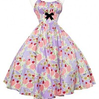 Ella Dress in Mary Blair Lips and Roses Print in Lavender