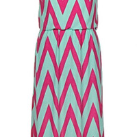Chevron Maxi Dress - Fuchsia and Mint