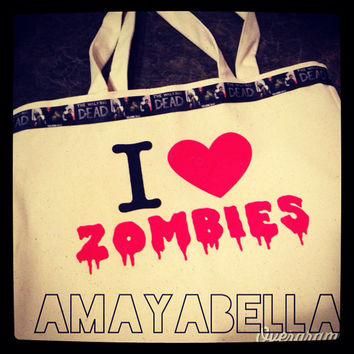 I heart zombies The Walking dead inspired tote bag