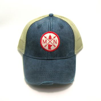 Minnesota Trucker Hat - Navy Blue Distressed Snapback - Minnesota Patched Arrow Compass