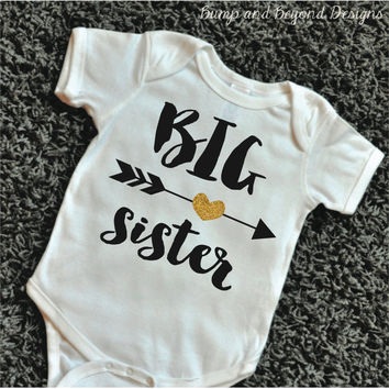 Big Sister Shirt Sibling Sister Shirt Glitter Big Sister Shirt Little Sister Shirt Gold Sisters Shirt Baby Announcement 050