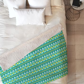 Allyson Johnson Teal And Yellow Aztec Fleece Throw Blanket