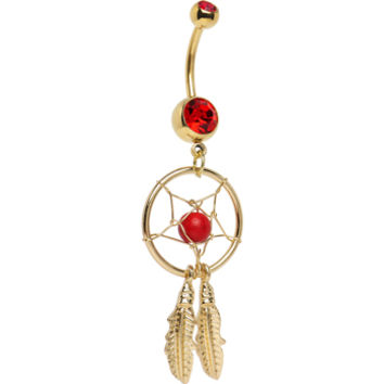 Gold Plated Red Gem Dreamcatcher Belly Ring | Body Candy Body Jewelry