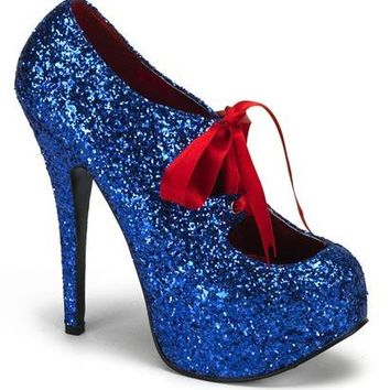 Pleaser Female 5 3/4 Inch Heel Glitter Concealed Platform Pump With Ribbon Lace TEE10G