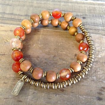 "Sandalwood and Carnelian ""Second Chakra"" 27 Beads Wrap Mala Bracelet"