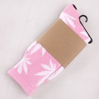 One Pair New Marijuana Weed Leaf Cotton High Socks Men/women BJF25 (Pink White leaf BJF25-J-19)