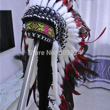DCCKH6B Indian Feather headdress handmade red and black feather costumes handmade indian feather headdress war bonnet hat costumes