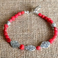 Red and Silver - Beaded Bracelet