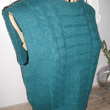 vintage 1980s TEAL cable knit SWEATER VEST ... hipster indie retro Small