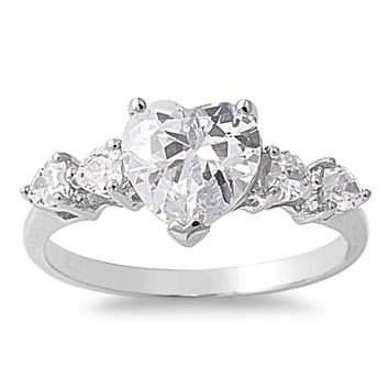 925 Sterling Silver CZ Heart Ring 9MM