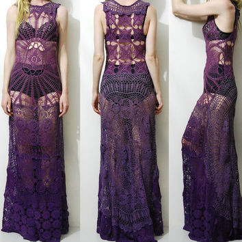 Crochet Dress VINTAGE LACE Spiderweb Purple OMBRE Long Maxi Sheer Grunge Gypsy Bohemian Boho Hippie ooak Handmade xxs xs s