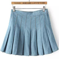 Light Blue Pleated Denim Skirt