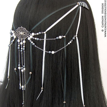 Latilda - Gothic Web Black Gray Glass Pearl Satin Woven Clips Renaissance Headpiece