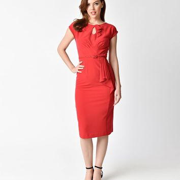 Stop Staring! 1940s Style Red Fitted Timeless Wiggle Dress