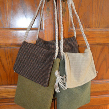 Set of 3 Ditty Bags, Primitive Decor, Wool Bag, Prim Tote, Primitive Tote, Rustic Bag, Canvas Tote, Prim Decor, Gift for Her, Housewarming