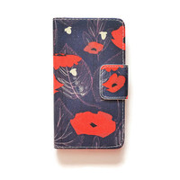 LG G4 Wallet Red Poppy Flowers G4 Wallet Case Acorn For LG G4 Romantic LG G4 Wallet Retro Denim Look L565