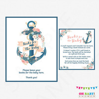 Books for the Baby, Nautical Baby Shower Girl, Book Request, Baby Shower Sign, Girl Baby Shower Printables, Pink Floral, Download, NA01