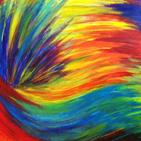 SALE  Original RAINBOW Acrylic Painting Abstract 16 by EbiEmporium