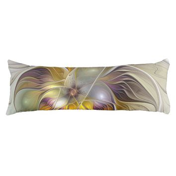 Abstract Colorful Fantasy Flower Modern Fractal Body Pillow