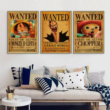 Vintage Paper Retro anime poster - Luffy wanted One Piece Posters/kid cudi poster/Vintage Home Wall sticker Decor 30*21cm