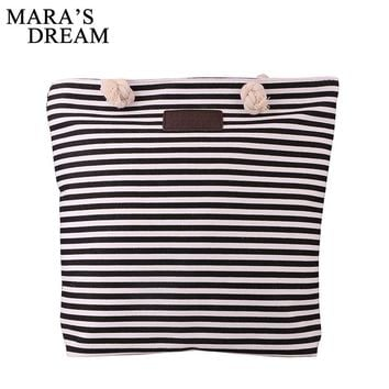 Mara's Dream 2018 Canvas Shopper Shoulder Bag Striped Beach Bags Large Capacity Tote Women Ladies Casual Shopping Handbag Bolsa