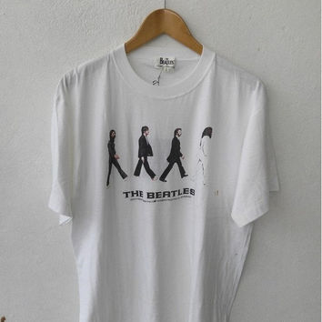 BIG SALE 25% 90's Vintage THE Beatles John Lennon Abbey Road Let it Be Concert Rock T shirt Size L