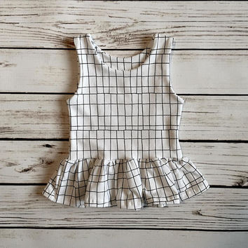 Black and White Grid Peplum Top // Grid Dress // Baby Dress // Baby Peplum top // Toddler Grid Dress // Toddler Peplum Top // Gift Idea