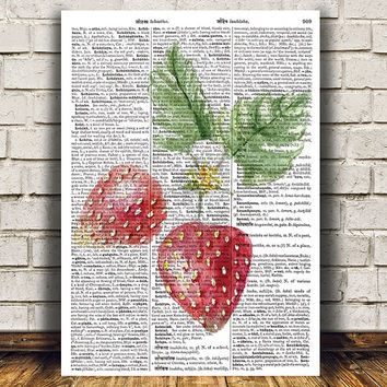 Dictionary print Strawberry art Berries poster Kitchen print RTA1597