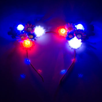 Patriotic LED Cat Ear Headband, Floral Cat Ears, USA Headband, 4th of July Outfit, Independence Day Headband, Memorial Day Headband, Ezoo
