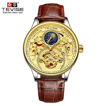 Tevise Leather Mechanical Automatic Self-Wind Watch Men Business Tourbillon Moon Phase Skeleton Wristwatch Relojes Hombre T820A