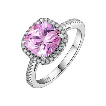 2.13ct Cushion Created Pink Sapphire 925 Sterling Silver Gemstone Ring Anniversary