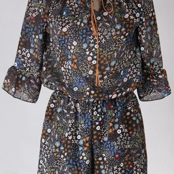 Streetstyle  Casual Round Neck Elastic Waist Floral Printed Chiffon Romper