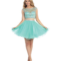 Mint Beaded Illusion Cropped Two Piece Tulle Short Dress 2015 Homecoming Dresses